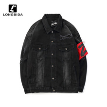 Men's High Street Hip Hop Ripped Denim Jackets Men Streetwear Distressed Jeans Jackets Casual Coats Bomber Outwear Black
