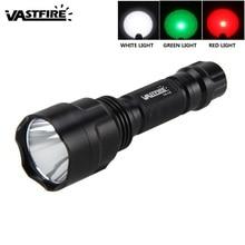 цена на VastFire 550 Lumens Waterproof Hunting Flashlight 3 Light Color Can Chooce White/Green/Red LED Light Lantern Portable Light