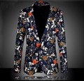 Hot 2015 new Single-breasted suit fashion Korean floral suits men's England leisure flower pattern suits,Large size coat,M-6XL