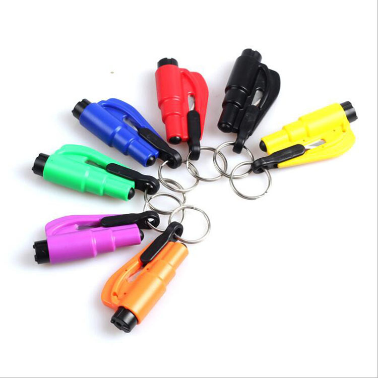 1Pcs 3in1 Car Styling Pocket Auto Emergency Escape Rescue Tool Emergency Mini Safety Hammer Keychain Seat Belt Cutter