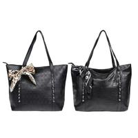 2018 Women Vintage Skull Shoulder Bags Bucket PU Leather With Silk Black Leopard Handbags Fashion Simple