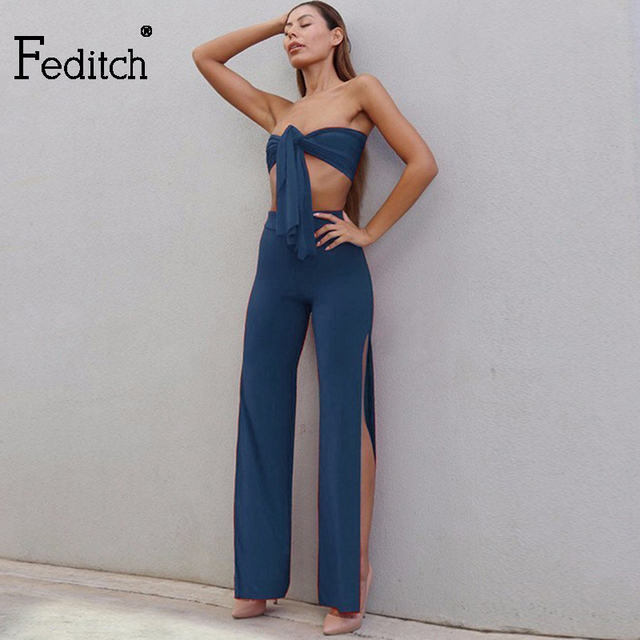 Feditch 2018 New two piece set Women Bodycon Sexy Crop Top And Split Full Length Pants Wrap Bandage Outfit 2 piece set women
