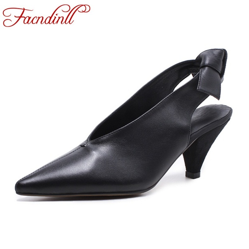 Handmade women pumps genuine leather spring summer casual shoes 2018 new office lady high heels sexy pointed toe mules shoes new genuine leather superstar solid thick heel zipper gladiator women pumps pointed toe office lady nude runway casual shoes l88