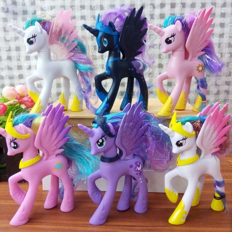 все цены на 14cm Unicorns Limited Edition Cartoon Models Rainbow Horses Action Figures Plastic ABS Toys Presents For Children Kids Girls