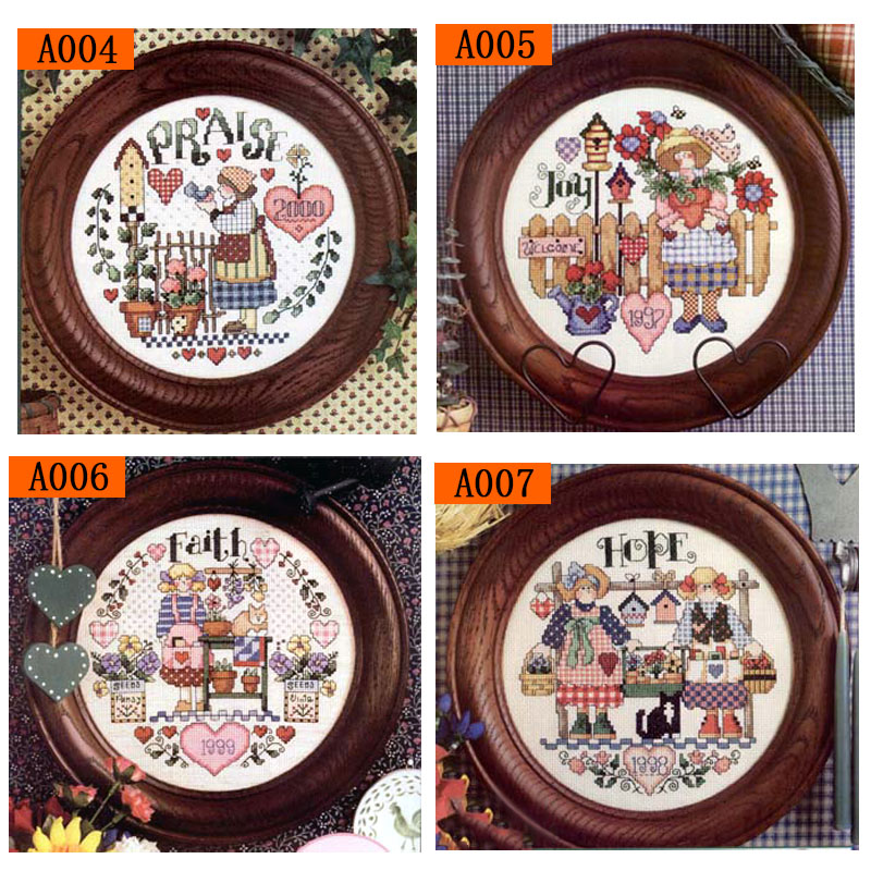 Fishxx Cross Stitch Kit A004-A007 Idyllic Girl And Her Friend Flower Gardening Planting Hand Embroidery