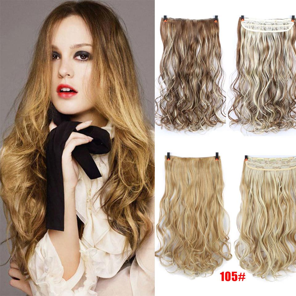 AOSIWIG Long Curly Synthetic Clip in Hair Extensions Half Full Head Hairpiece 5 clips One Piece Blonde Black