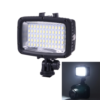 Mini LED Video Light Photo Lighting Waterproof 40m/ 130ft Underwater 12W 5500-6000K 1800LM Video Photography Lamp with 60 LEDs