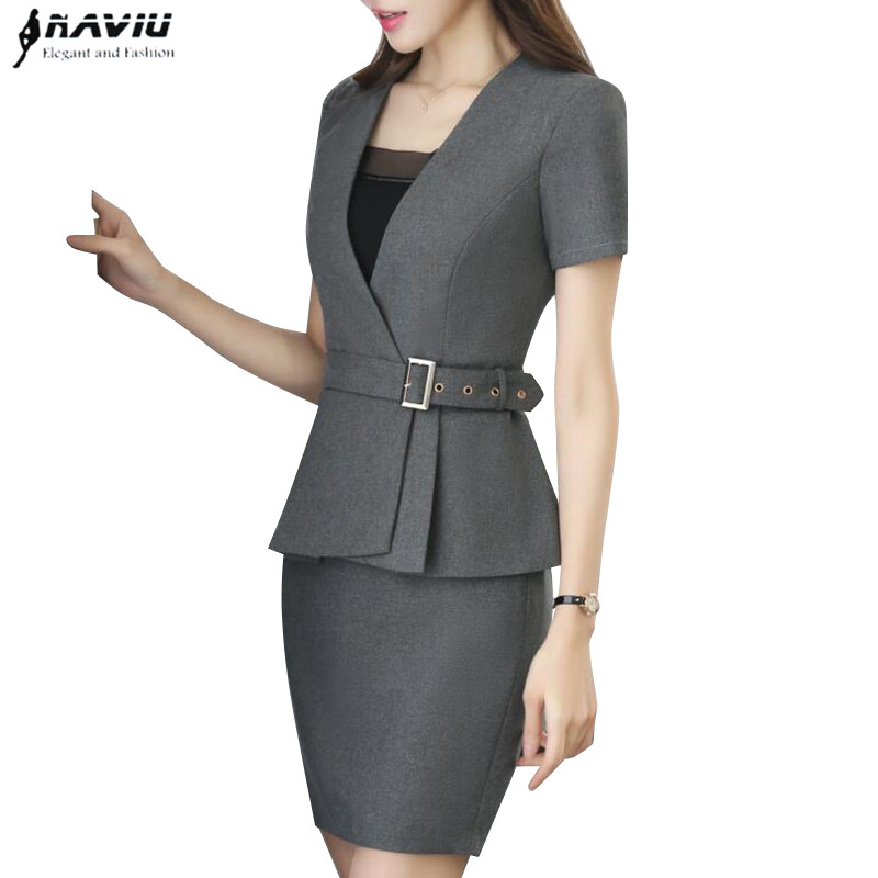 Diplomatic New Spring Fashion Professional Women Skirt Suit Summer Elegant Formal Blazer And Skirt Office Ladies Plus Size Uniforms