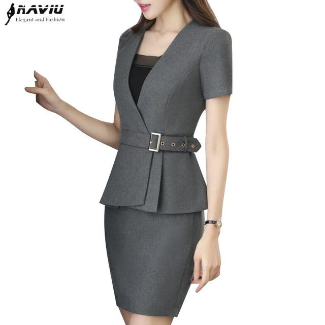 6eafc1a9ecd Nueva primavera moda mujer profesional falda traje verano elegante formal  blazer y falda Oficina señoras más