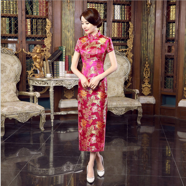 Elegant Slim Chinese Women's Satin Cheongsam Qipao Mandarin Collar Long Dress Summer Casual Dresses S M L XL XXL XXXL C0031