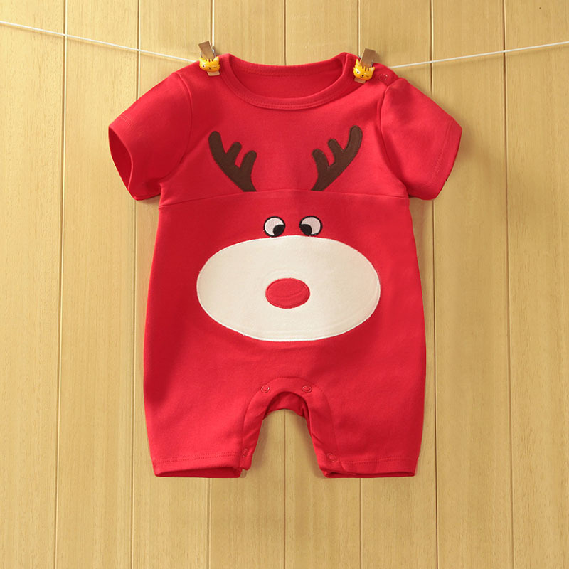 2016 Summer Red ELK Decals Baby Rompers Short Sleeve Baby Boys Girls One-pieces Newborn Baby Clothing 100% Cotton
