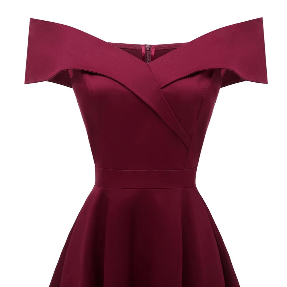 c4754ca6d9e07 Women 50s 60s Style Vintage Rockabilly Swing Dress Wine Red Ladies...