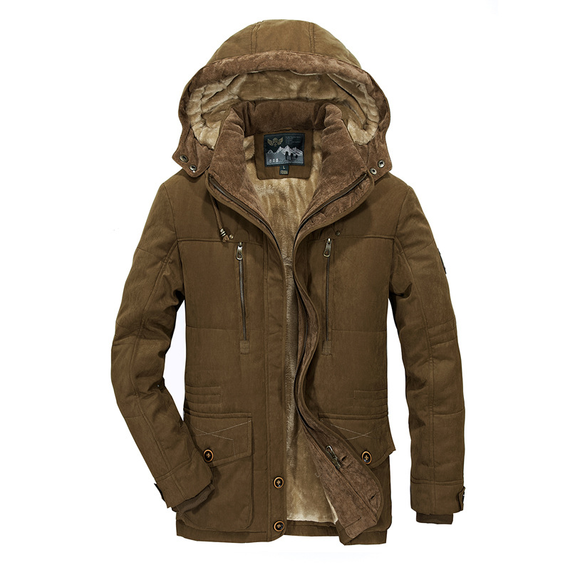 2019 Winter Mens Hooded Jacket Business Casual long cotton thick warm coat male Solid color zipper Fleece outwear plus size 6XL - 6