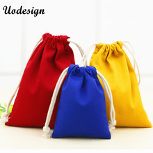20pcs/lot 5 Colors Cotton Canvas Pouch Wholesale Custom Logo Printed Small Drawstring Gift Bags Packing Bags Jewellery Pouches