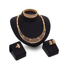 Conjuntos de jóias Para As Mulheres Africanas Contas Imitação de Cristal Pingente de Colar Brincos Acessórios Do Casamento Do Presente Do Partido