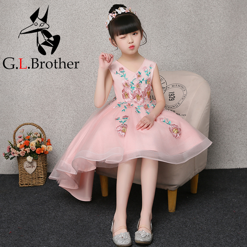 Short Front Long Back Princess Dress V-neck Embroidery Ball Gown First Communion Gowns Tulle Girl's Summer Floral Dress E264 tiny floral back slit pencil dress