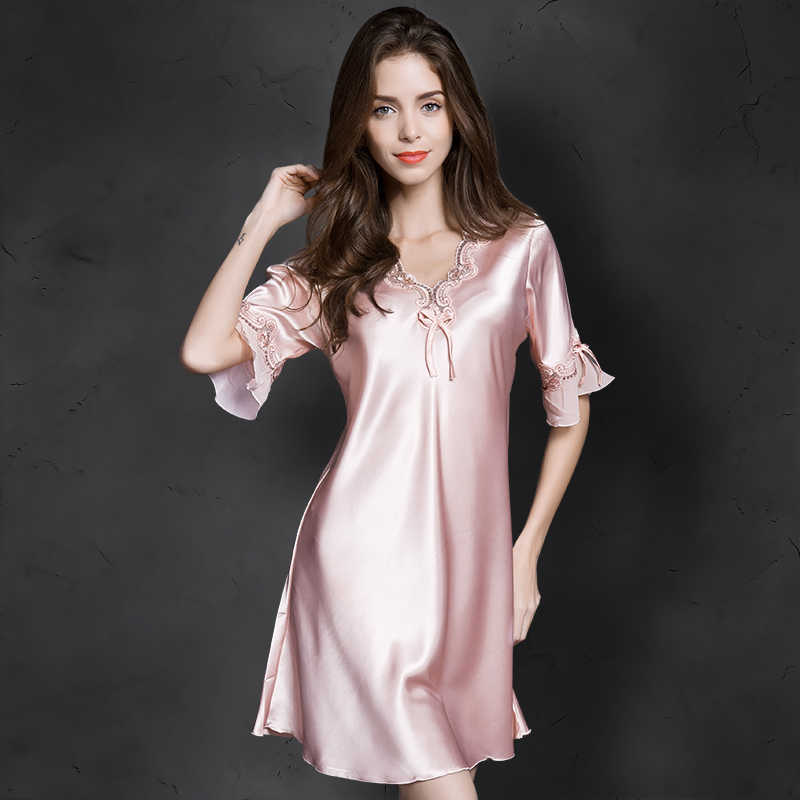 Women Sexy Silk Satin Night Gown Cami Short Sleeve Nightdress Lace Sleep Dress V-neck Nighties Night Shirt Sleepwear Nightwear