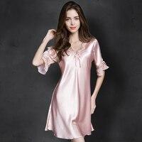 e210426dc Women Sexy Silk Satin Night Gown Cami Short Sleeve Nightdress Lace Sleep  Dress V Neck Nighties