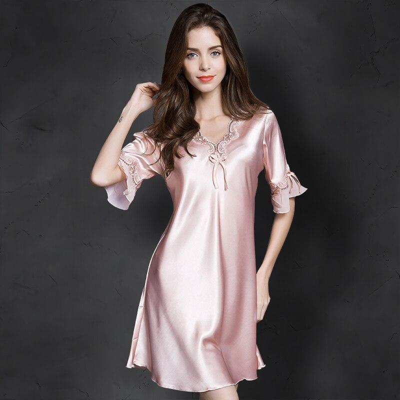 Women Sexy Silk Satin Night Gown Cami Short Sleeve Nightdress Lace Sleep Dress V-neck Nighties Night Shirt Sleepwear Nightwear
