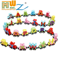 MWZ Wooden Letter Small Train Magnetic Toys Digital Slide Puzzle Toy For Children Educational Christmas Gifts Jigsaw Color Cars