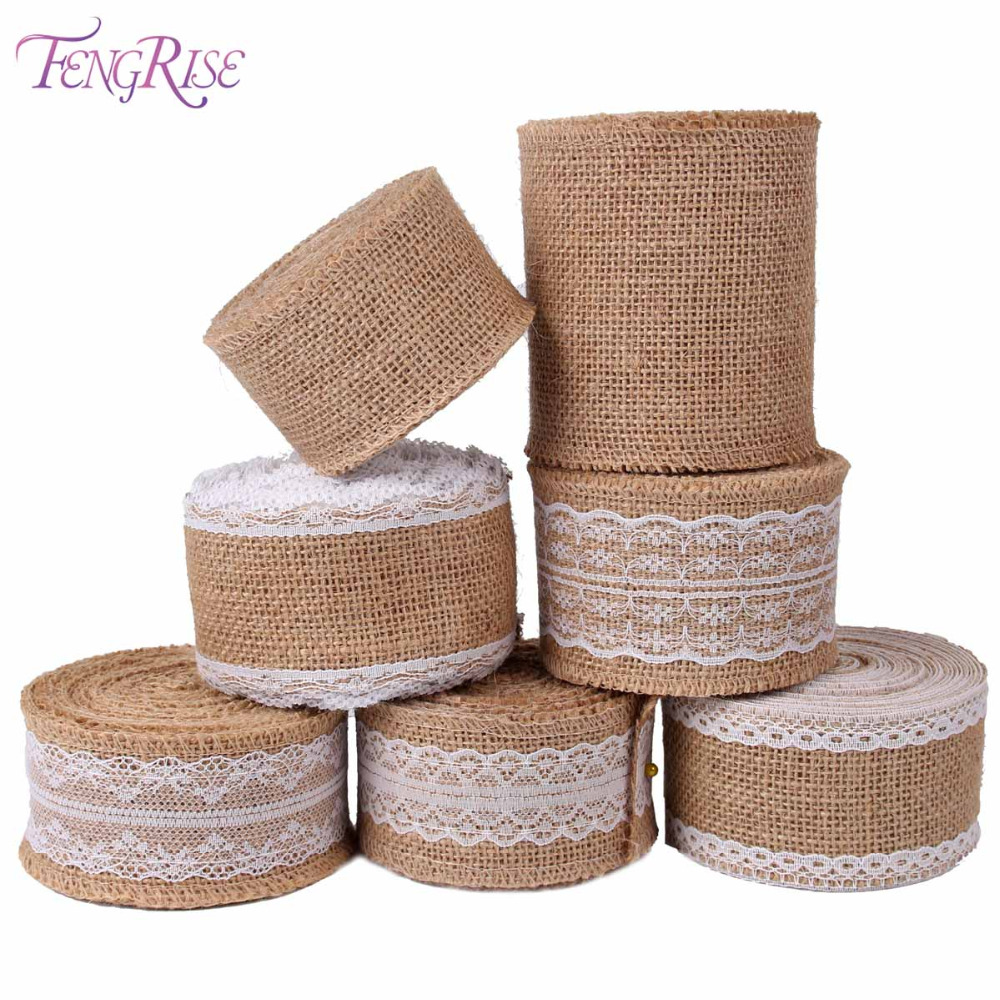 Fengrise burlap ribbon 5m vintage wedding centerpieces for Sisal decoration