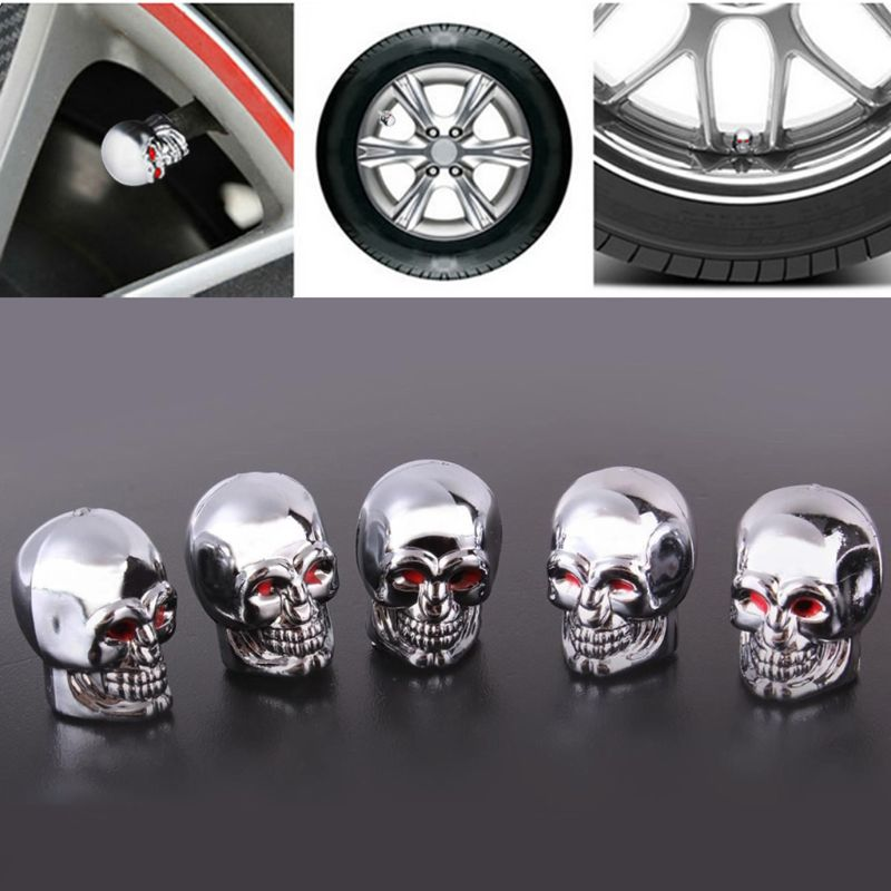 5Pc Skull Tyre Tire Wheel Car Auto Valves Cap Dust Stem Cover BicycleMotocycle