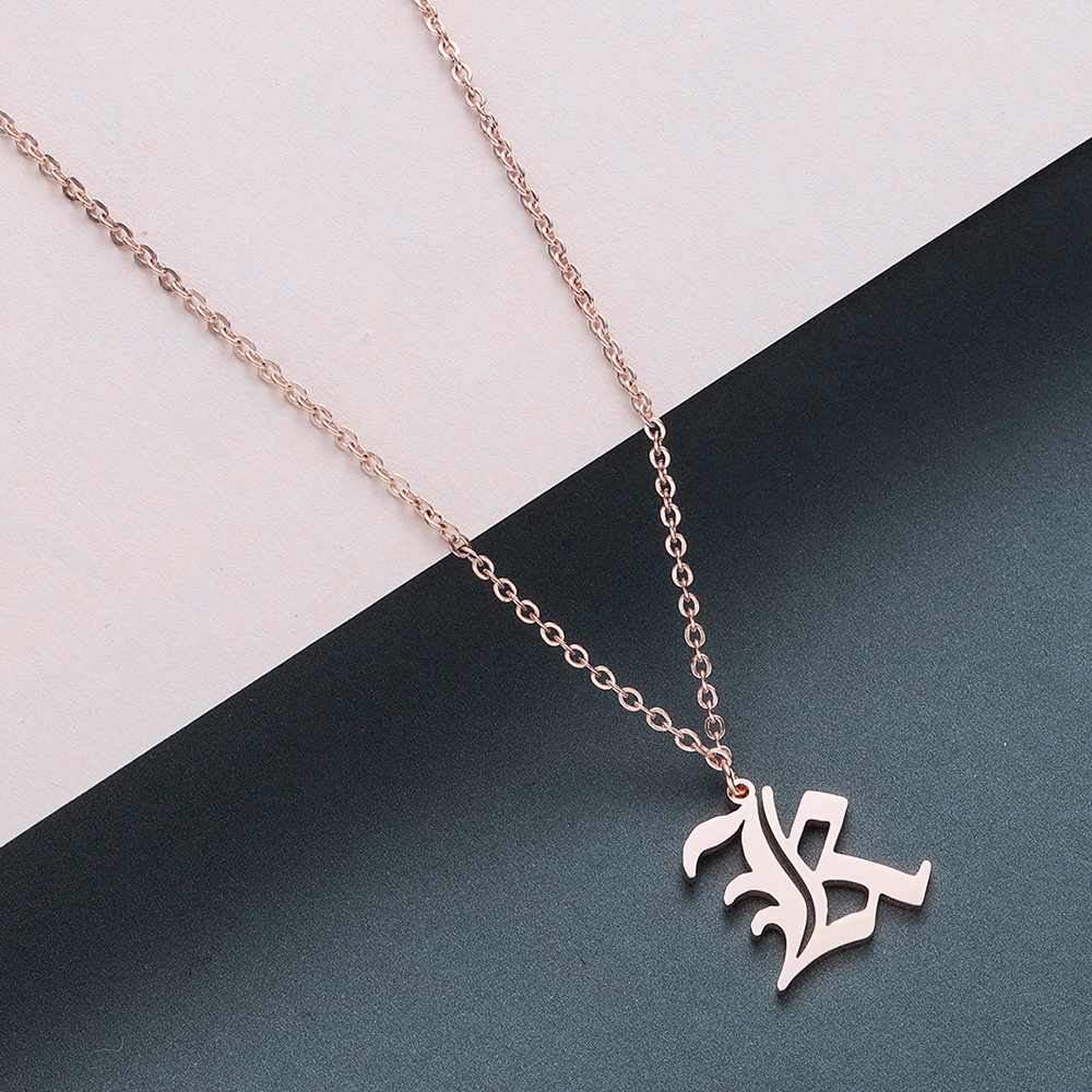 Todorova Old English Custom Capital Initial A-Z Letter Pendant Necklace Men Vintage Font Personalized Necklace Women Jewelry 31
