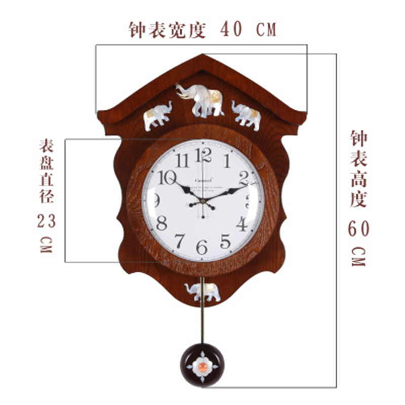 European Large Wall Clock Modern Design Wooden Vintage Mechanism Pendulum Self Adhesive Mute Quartz Home In Clocks From