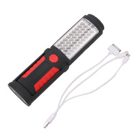 Red/Blue Portable 36+5Led Work Light Camping Emergency Lamp Flashlight Magnetic With Hook Stand Built in Battery With USB Cable