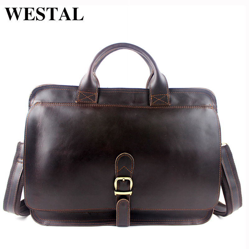 WESTAL Men's Briefcase Laptop Bag Men Messenger Bags Genuine Leather Men Bag Shoulder Crossbody Bags for Man Handbag Portfolio xiyuan genuine leather handbag men messenger bags male briefcase handbags man laptop bags portfolio shoulder crossbody bag brown