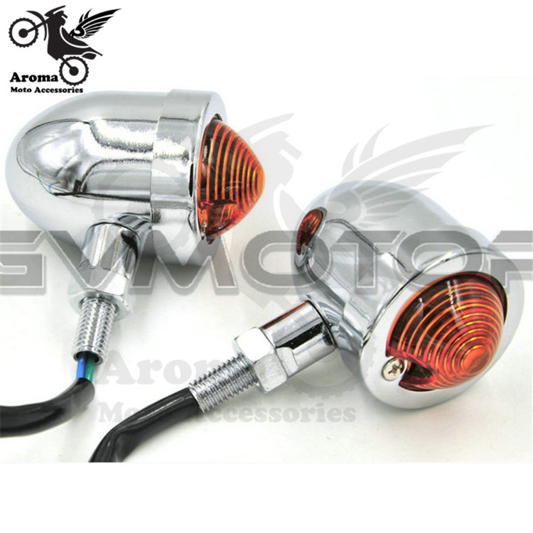 retro 10MM motorbike parts scooter lamp amber silver chrome motorcycle flasher for harley prince cruise moto turn signal light