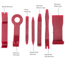 7Pcs Red Car Interior Door Trim CD Radio Audio Stereo Panel Removal Install Pro Plastic Tool