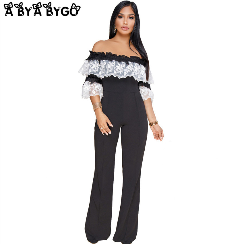 ABYABYGO 2018 Rompers Womens Jumpsuit Loose Sexy Casual Off Shoulder Black Lace Skinny Club Overalls Body Plus Size Jumpsuits