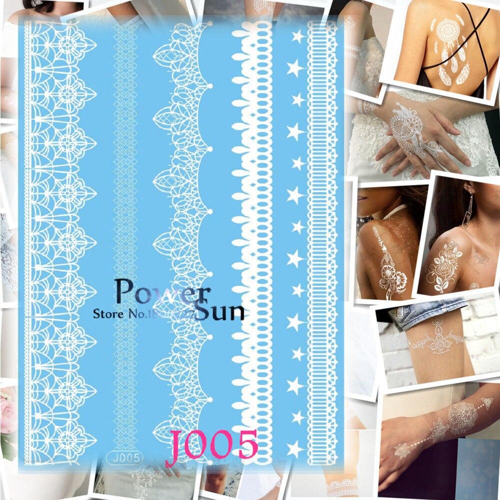 1PC White Ink Bracelet Design Waterproof Arm Leg Tattoo Women Wedding Body Art Temporary Tattoo Sticker Henna Lace Jewel Tatoos