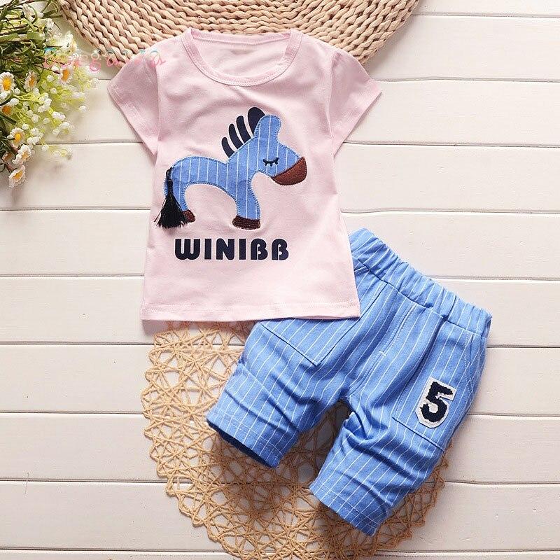 2018 Casual Summer Baby Kids Children Boys Cartoon Horse T-shirt+ Striped Shorts Pants 2pcs Infants Roupas Clothes Set S6368