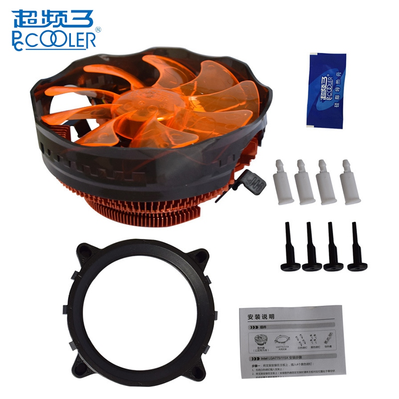 PCCOOLER E121M 4 Pin 12cm Cooling Fans Orange LED CPU Cooler Cooling Fan For Intel LGA775 LGA115X For AMD AM2 AM3 three cpu cooler fan 4 copper pipe cooling fan red led aluminum heatsink for intel lga775 1156 1155 amd am2 am2 am3 ed