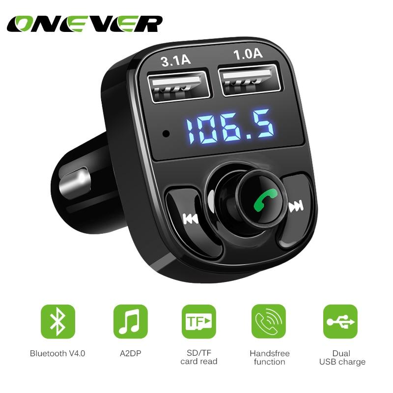 JIANGfu Wireless FM Transmitter MP3 Player Blue Handsfree Car Kit USB TF SD Remote FM Radio Transmitter