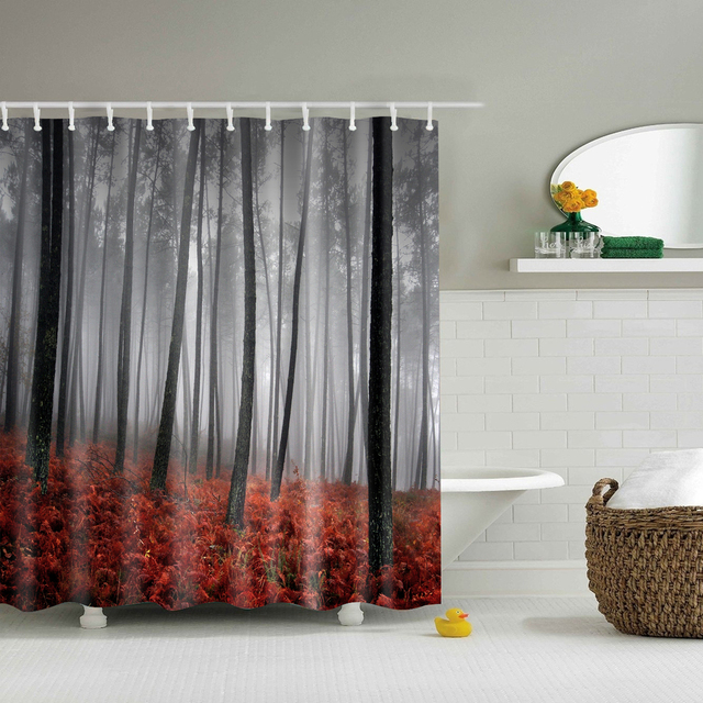 Foggy Forest Autumn Shower Curtains Waterproof Bathroom Curtains Polyester  180x180cm Decoration With Hooks