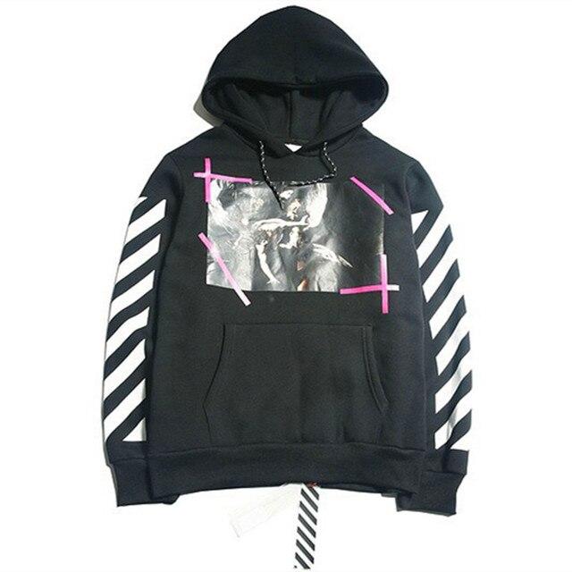 7ef21a232571 Hip hop street hoodie OFF WHITE C O VIRGIL ABLOH hooded religion Pyrex  vision stripe print men sweatshirt