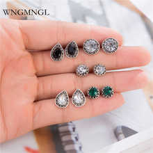 WNGMNGL 5 Pairs/Set 2018 New Brincos Femme Bohemian Vintage Green Black Crystal Droplet Stud Earrings Set for Women Jewelry