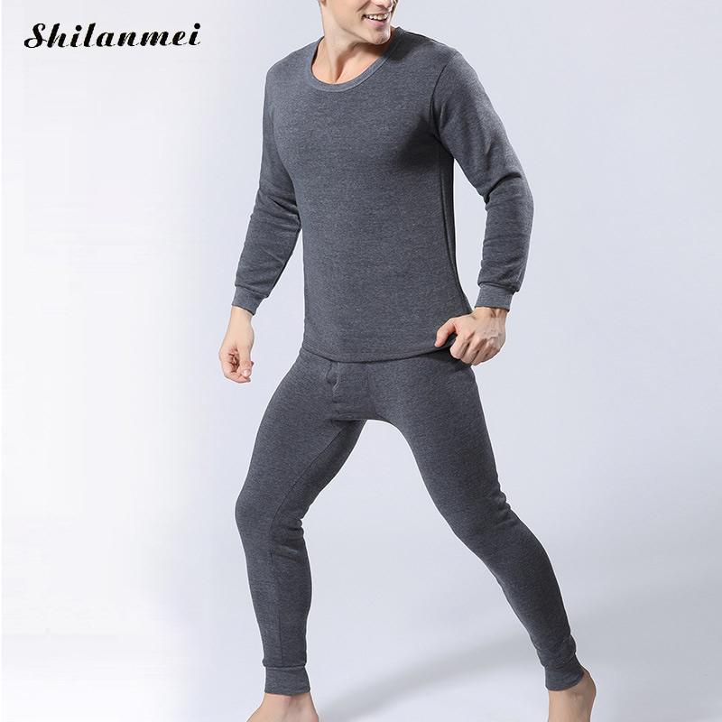 Winter Men Long Johns Thicken Men'S Thermal Underwear Sets Plus Size Warm Long John O-Neck Thermal Undershirts Trousers 4xl 3xl