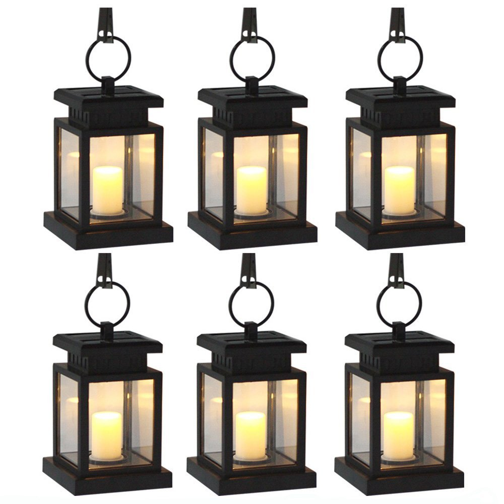 6 Pack Solar Power LED Hang Light Outdoor Lantern Candle Effect Night