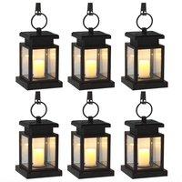 6 Pack Solar Power LED Hang Light Outdoor Lantern Candle Effect Night Light For Garden