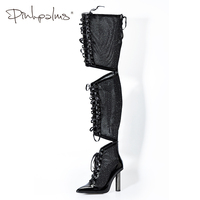 Pink Palms Winter Autumn Shoes Women Thigh High Boots Stilettos Lace Up Over the Knee Mesh Boots Point Toe High Heel Long Boots