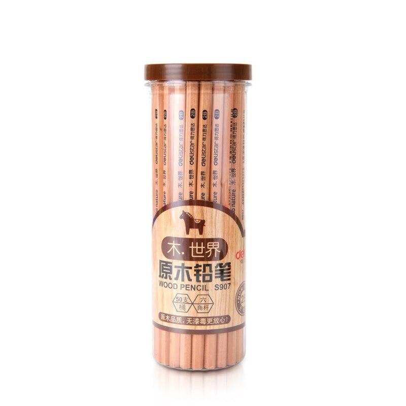 2 Pcs/lot Deli 2B Quality Standard Wood Standard Pencils For School Supplies Children Kids
