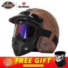 New Retro Vintage German Style Motorcycle Helmet 3/4 Open Face Helmet Scooter Chopper Cruiser Biker Moto Helmet Glasses Mask(China)
