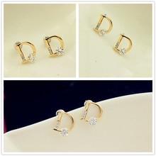 цена на Letter D Crystal Zircon Rhinestone Cut Stud Earrings Earrings Fashion Women's Accessories Women Earrings Stainless Steel