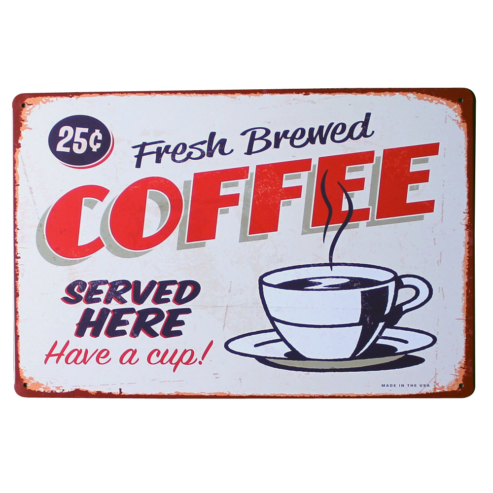 Fresh brewed coffee metal tin sign vintage style plaque for Best brand of paint for kitchen cabinets with metal ship wall art