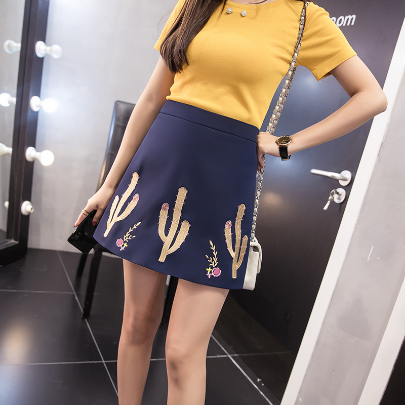 MOYTACEN 2017 summer new Korean A word package hip skirt female high waist was thin embroidered cactus fashion wild skirt