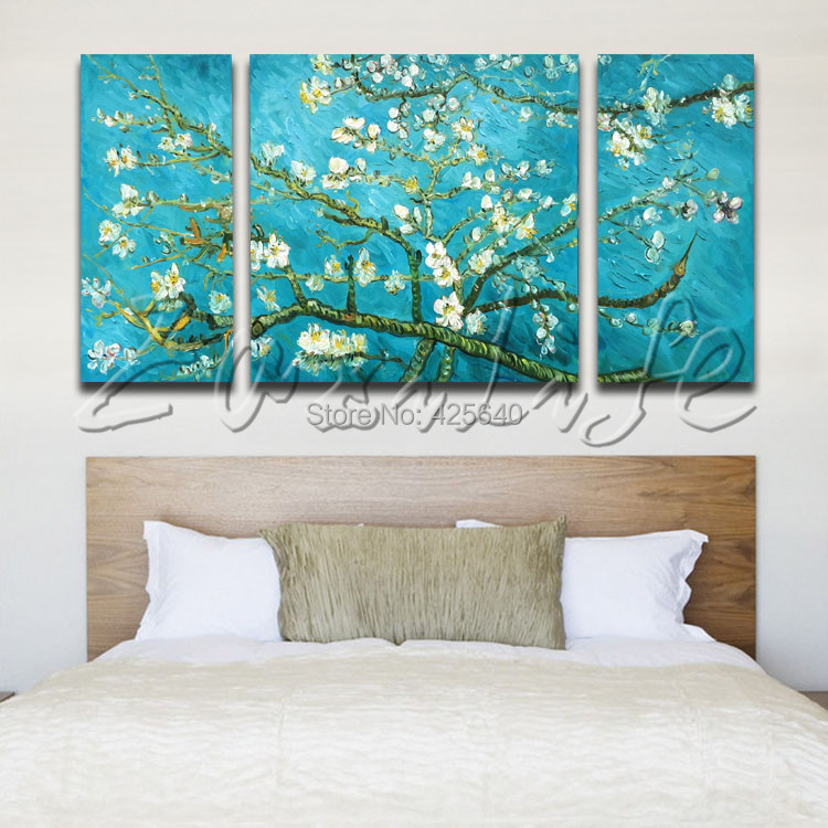 3 Piece Hand Painted Palette font b Knife b font White Tree Oil Painting Wall Art